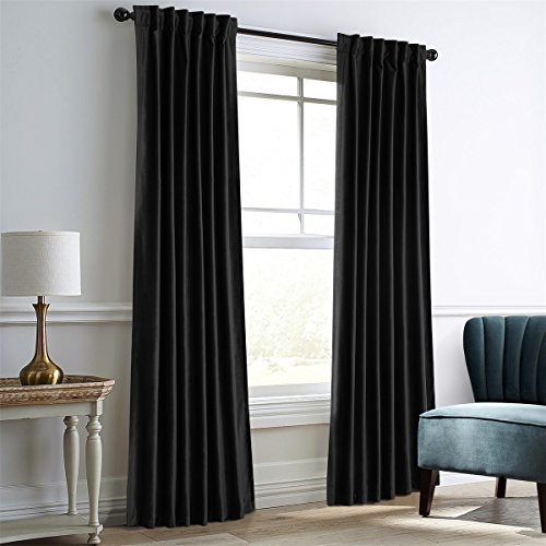 Dreaming Casa Darkening Black Velvet Curtains for Living Room,Thermal Insulated Rod Pocket/Back Tab Window Curtain for Bedroom(2 Top Construction Combination,52
