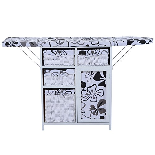 White and Black Ironing Console Table and Shelving Unit Foldable Sew With Ebook