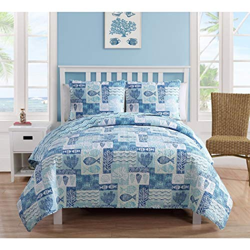 4pc Blue Coastal Quilt King Set, Stylish Patchwork Sea Shell Coral Reef Wave Abstract Fish Themed, Shells Waves Reefs Pattern, Aqua Sky White, Chic Patch Work Sealife Ocean Beach Bedding