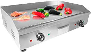 """ALDKitchen Flat Top Griddle   Teppanyaki Grill with Double Thermostat   Manual Control   29.00"""" x 18.00""""   110V"""