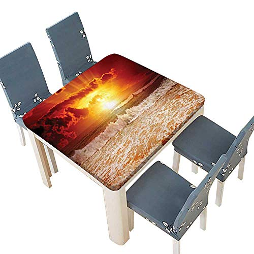 (PINAFORE Natural Tablecloth Collection Sunset Sun Horizon Behind Clouds Lights Up Wavy Sea Beach Home Use, Machine Washable 72.5 x 72.5 INCH (Elastic Edge))