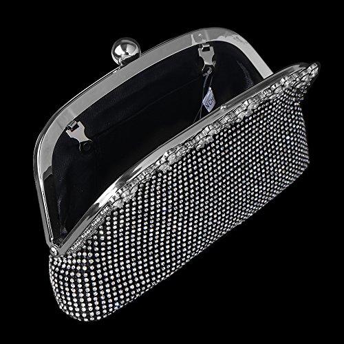 Women's Bagood Evening Black Handbag Bags Rhinestones Shoulder Crystal Purses Bag Clutches Oqqwd7Fp