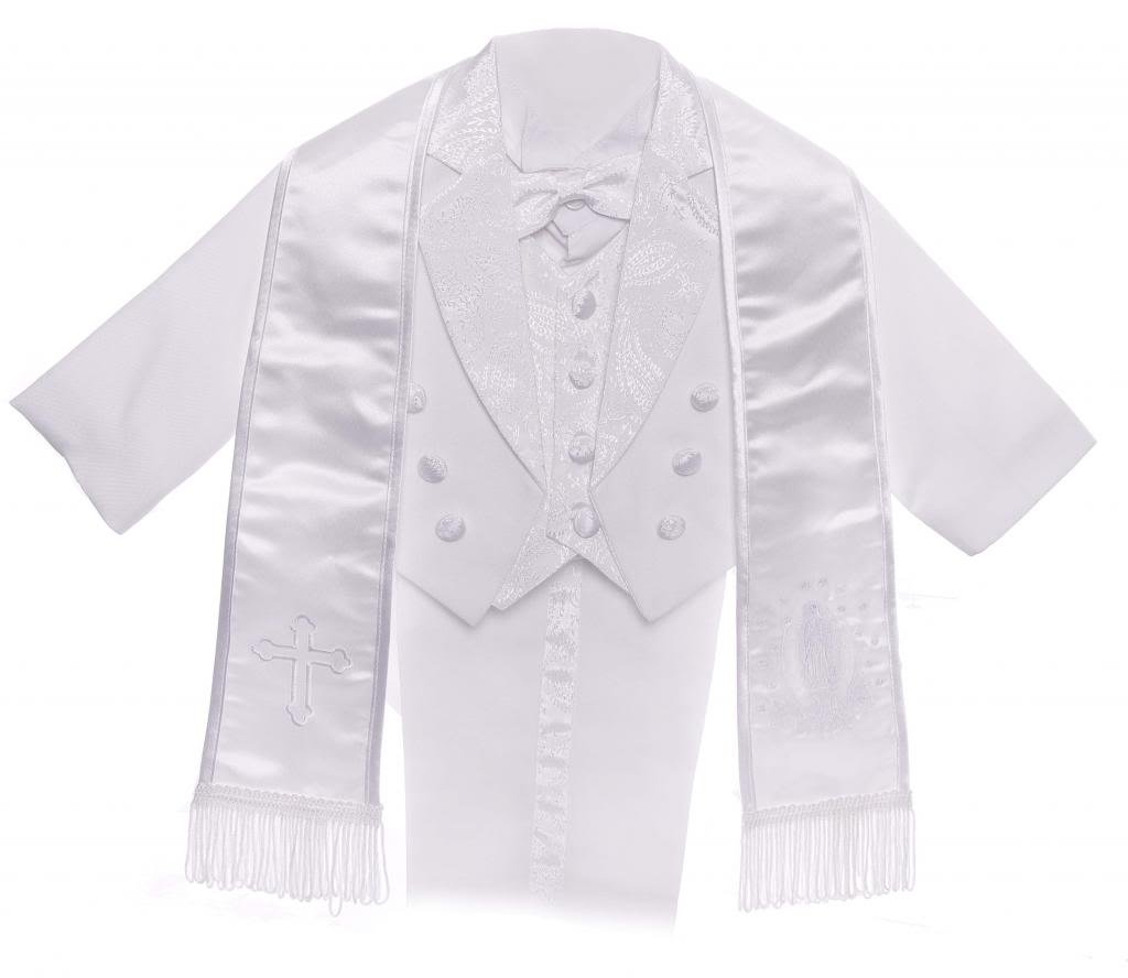 Boy White Tail Paisley Design Christening Silver Virgin Embroidered Tuxedo