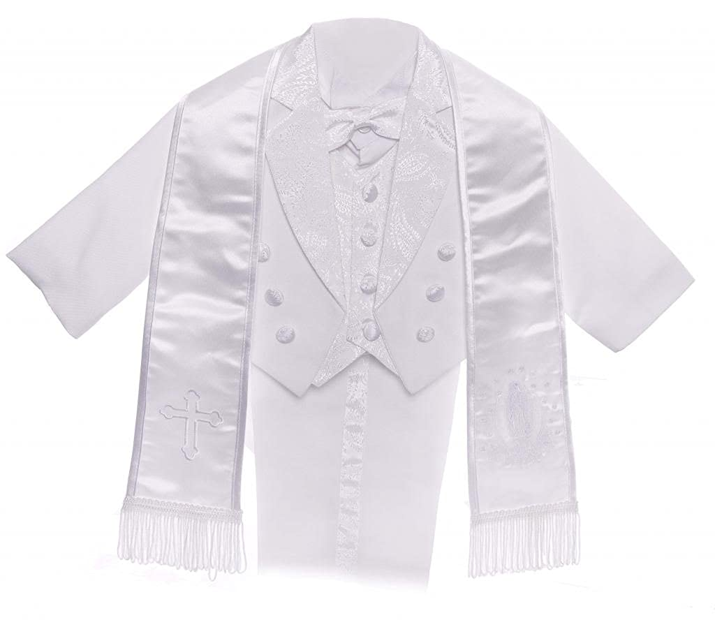 CALDORE USA Boy White Tail Paisley Design Christening Outfit, Virgin Embroidered Tuxedo Baptismal Suit