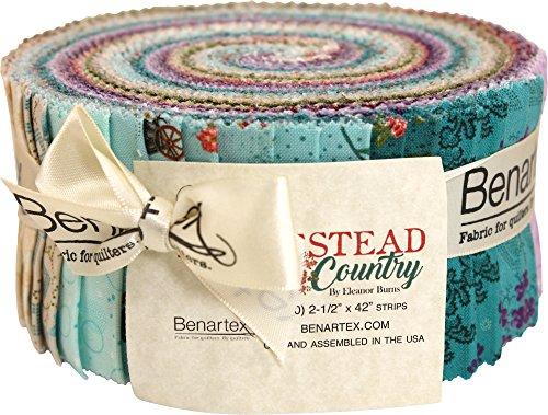 (Eleanor Burns Homestead Country Pinwheel 40 2.5-inch Strips Jelly Roll Benartex, Assorted )