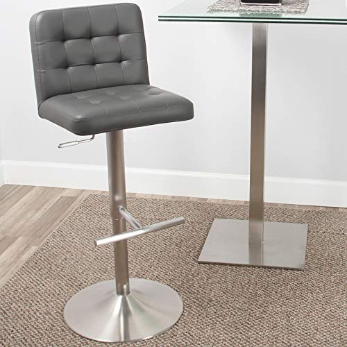 (Mix Brushed Stainless Steel Faux Leather Grey Adjustable Height Swivel Bar Stool with Tufted Seat and Round Trumpet Base)