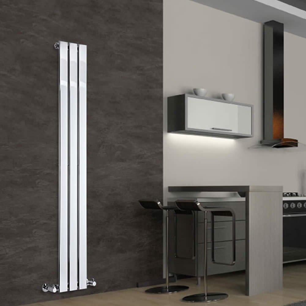 Milano Alpha - Chrome Slim Panel Vertical Designer Radiator 1600mm x 225mm - Slim Vertical Panel Rad - Tall Luxury Central Heating Radiators