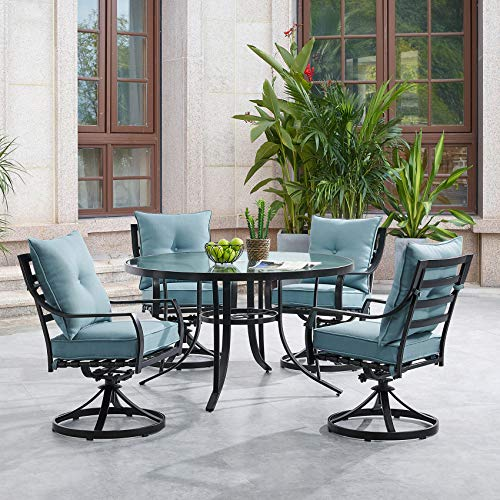 - Hanover LAVDN5PCSWRD-BLU Lavallette 5-Piece Ocean Blue with 4 Swivel Rockers and a 52-in. Round Glass-Top Table Outdoor Dining Set