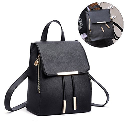 Women Girls Black Bag Leather Dark Blue Ladies PU Travel Bag Backpack Shoulder tq1wUFxt