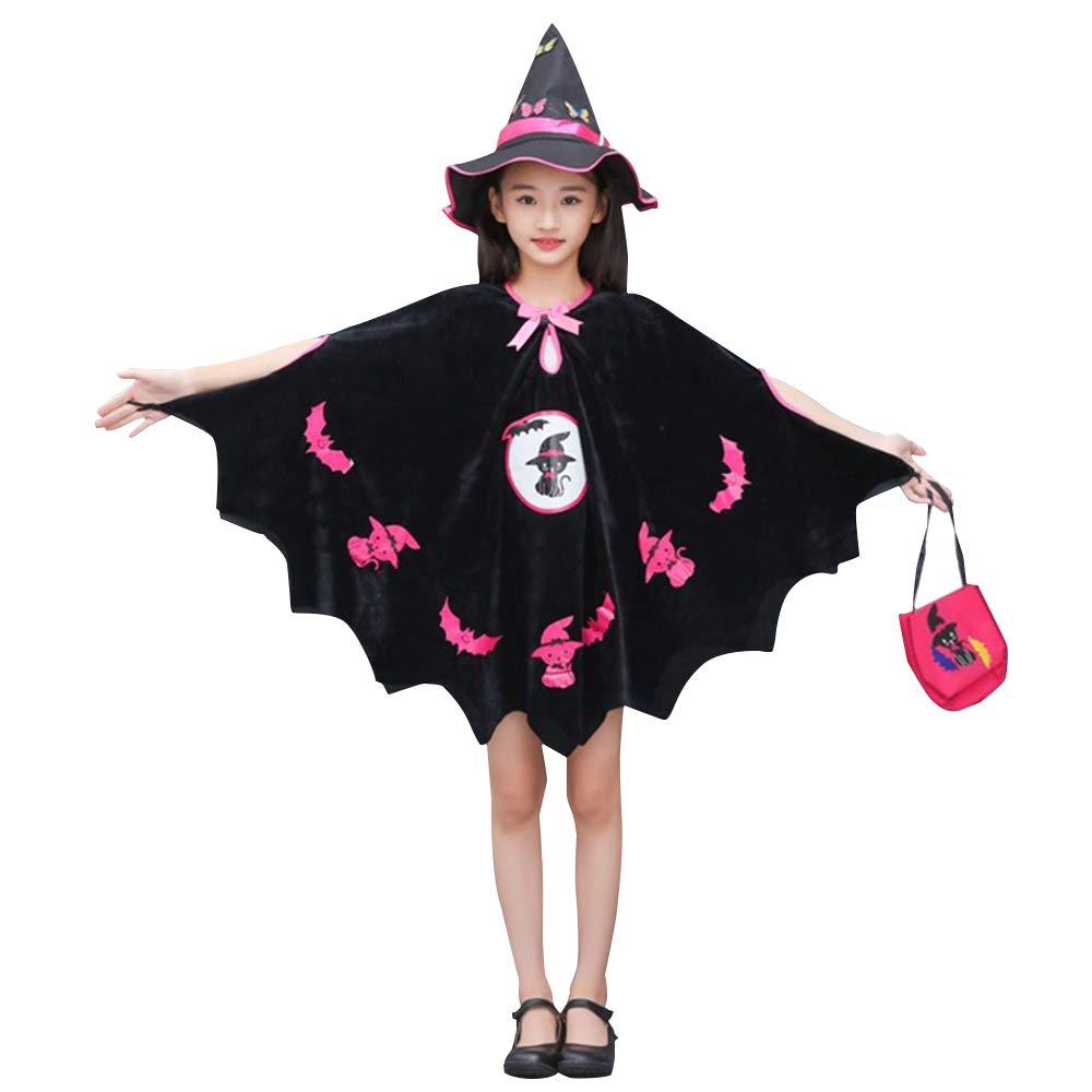 KINOMOTO ハロウィン魔女コスチューム ファンシードレス フード付きマント 女の子用 魔女 コスプレ衣装 140CM/6-7T  B07H2T3QDF