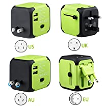 Universal Travel Adapter All-in-one Worldwide Travel Chargers Adapters for US UK AU EU Multi-national Wall Plug Universal Power Adapter Charger with Dual USB and Safety Fuse (Green)