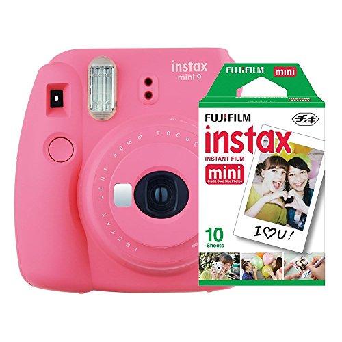 Câmera instantânea Fujifilm Instax Mini 9 Rosa Flamingo + Pack 10 fotos