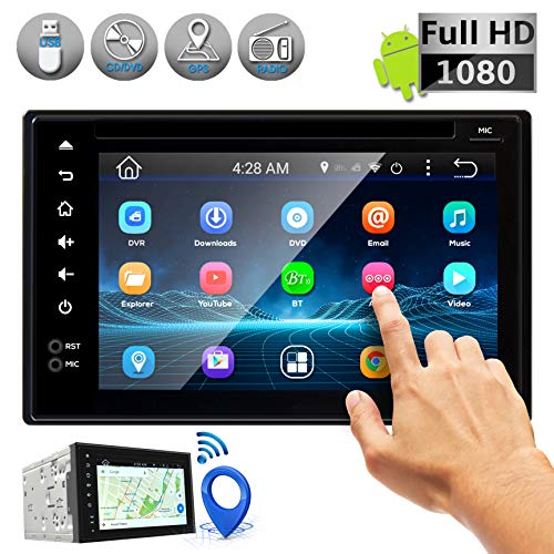 Double DIN Android Stereo Receiver - Car Head Unit System w/ Rear View Backup Camera Support, 6 Inch Touchscreen LCD, 3G WiFi, Bluetooth, CD DVD Player, GPS Navigation, USB, Radio - Pyle PLDNAND621