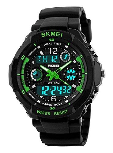 Waterproof Digital LED Multi-function Military Sports Watch Green - 7