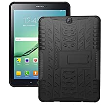 DWay Case Samsung Tab S2 9.7 T810 Hybrid Armor Design with Stand Feature Detachable Dual Layer Protective Shell Hard Back Cover Case for Samsung Galaxy Tab S2 9.7inches Tablet T810 (Black)