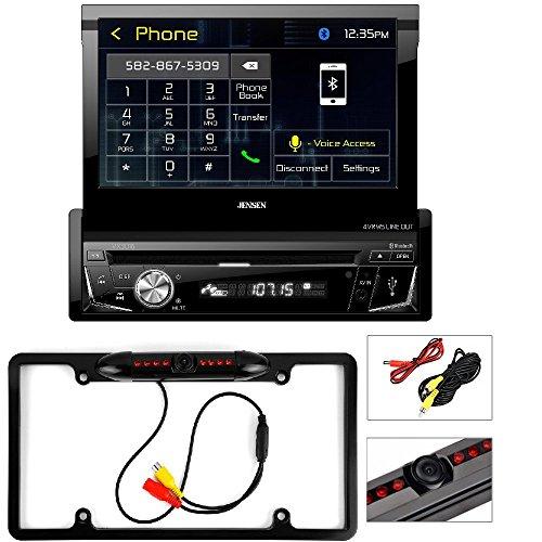 Jensen VX3016 Single DIN Bluetooth In-Dash DVD/CD/AM/FM Car Stereo Receiver Cache Night Vision Car License Plate Rearview Camera - Black CAM810B