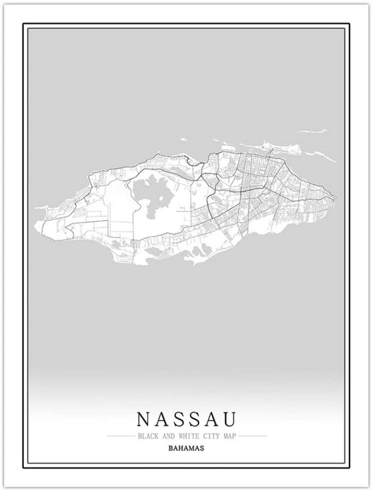Prints Canvas,Bahamas Nassau City Map Wall Art Black White Line Mural Poster Pictures Minimalist Painting Modular Pop Simple Living Office Space Vertical Personalised Decoration,20Cm X 30Cm/7.8 11.