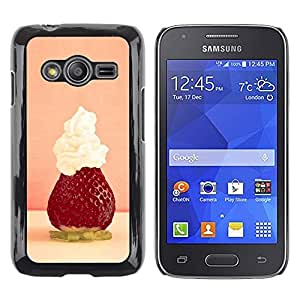 Be Good Phone Accessory // Dura Cáscara cubierta Protectora Caso Carcasa Funda de Protección para Samsung Galaxy Ace 4 G313 SM-G313F // Fruit Macro Strawberry Whipped