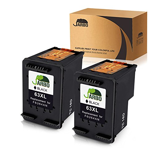 Black Officejet Ink - JARBO Remanufactured HP 63XL Ink Cartridges High Yield, HP 63 Ink, 2 Black Ink Level Display Used in Envy 4520 4516 Officejet 4650 3830 3831 4655 Deskjet 2130 2132 1112 3630 3633 3634 3636