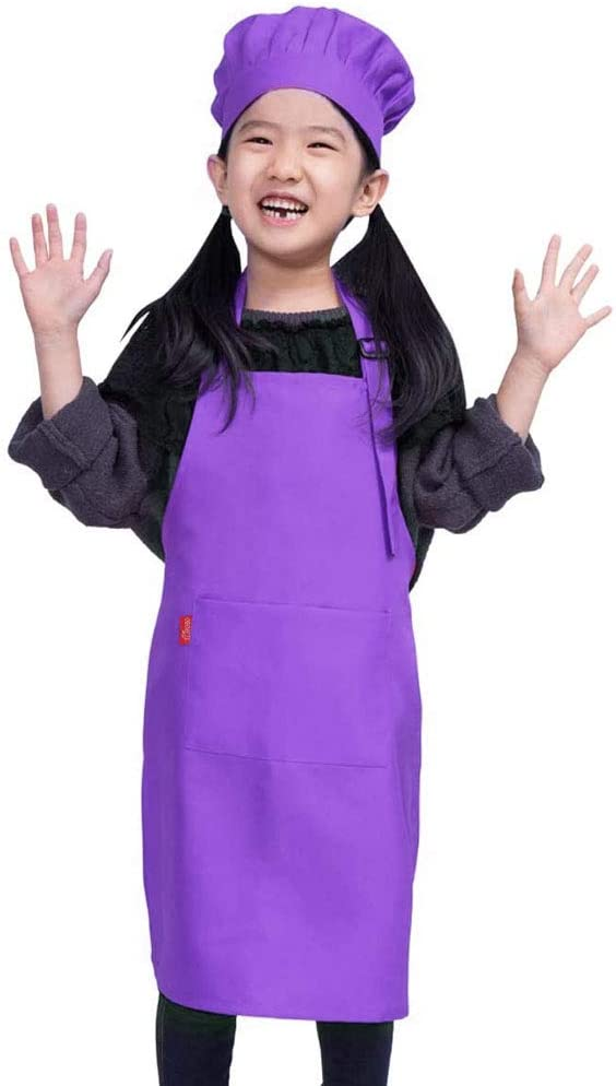 ALIPOBO Kids Apron and Chef HatSet, Children'sAdjustable Bib Apron with 2 Pockets. Cute Boys Girls Kitchen Apron forCooking,Baking,Painting, Training Wear(6-12 Year, Purple)