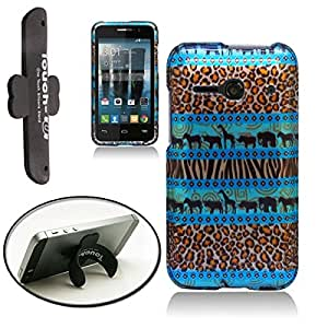 [ARENA] COLORFUL SAFARI ANIMALS COVER SNAP ON HARD CASE for ALCATEL ONE TOUCH EVOLVE 2 + FREE TONGUE STAND