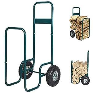 Karmas producto portátil carretilla para leña Log Fire madera Carrier Holder transporte Rolling acero patio Patio jardín, verde