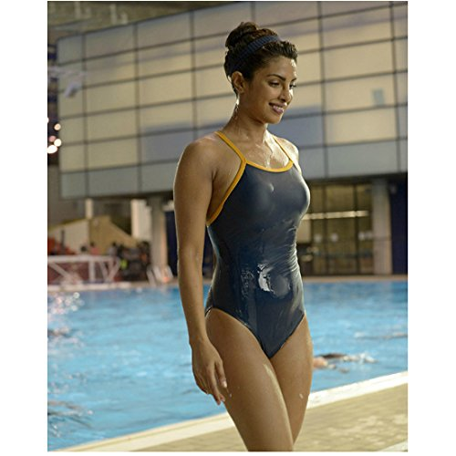 Priyanka Chopra 8 Inch x10 Inch Photo Barfi! Don Don 2 Agneepath Grey Swimsuit Pool in Background kn