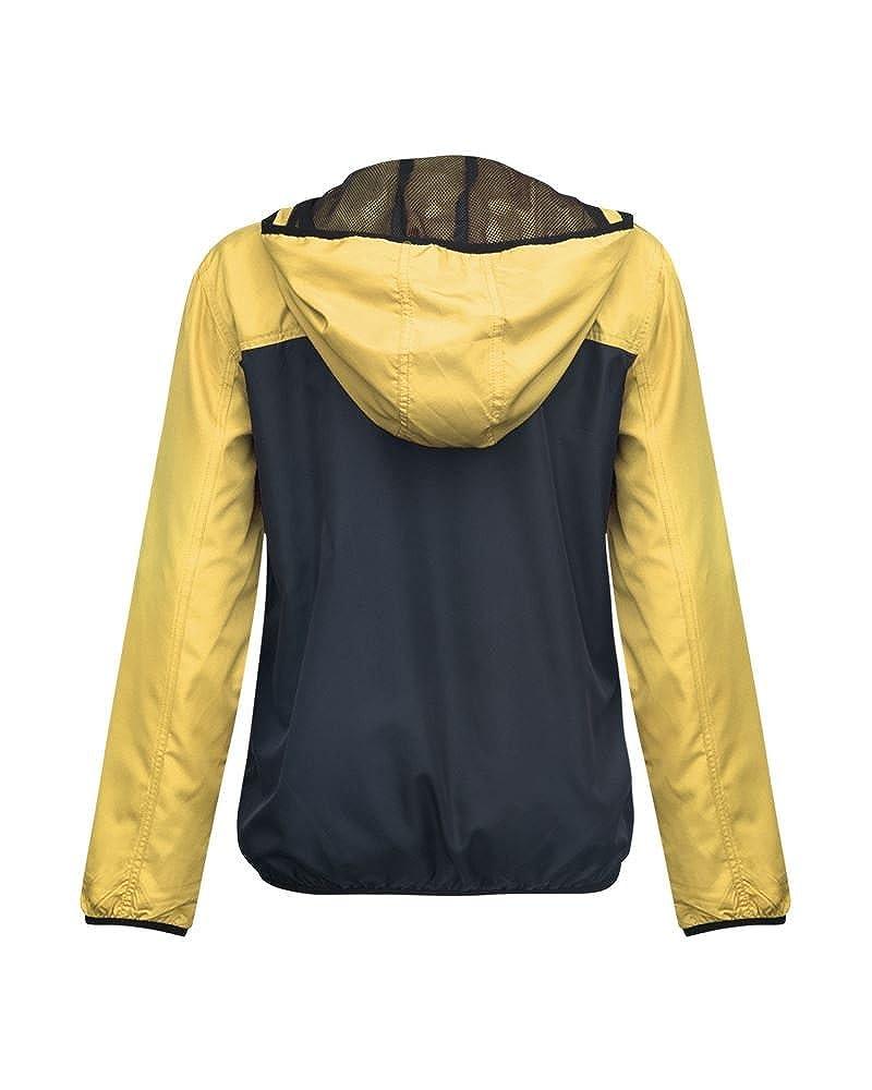 Girls Boys Unisex Lightweight Contrast Colour Block Summer Rain Mac Hooded Jacket