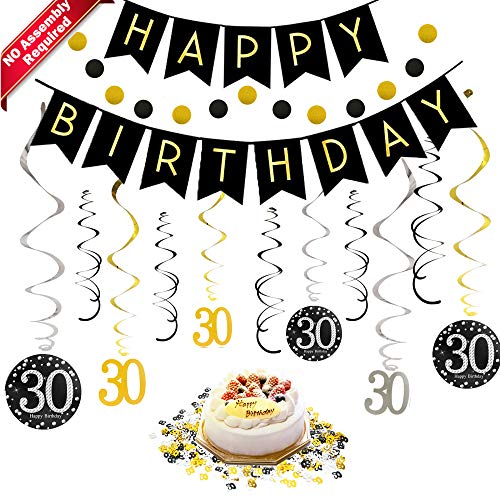 30th Birthday Decorations Kit for Men & Women 30 Years Old Party, NO Assembly Required - Black Gold Happy Birthday Banner, Hanging Swirls, Circle Dots Hanging Decoration, Number 30 Table Confetti -