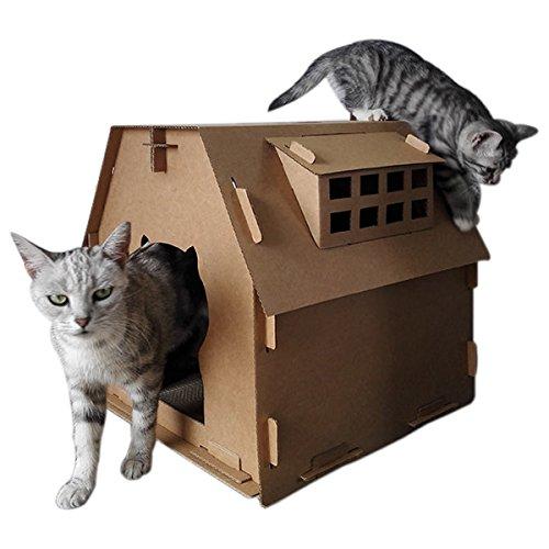 Omonic Luxury Pet Cat Scratch House Castle Home Villa Board Bed Sofa Furniture Scratcher Cats Kitty Rest Durable House Window Design