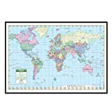 World Primary Mounted Framed Wall Map Frame Color: Black