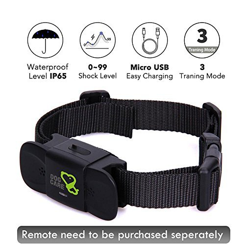 Dog Training Collar Receiver - Dogcare Rechargeable Shock Collar Receiver, 100% Waterproof Training Collar with Adjustable Collar for All Size Dog (10lbs-100lbs)