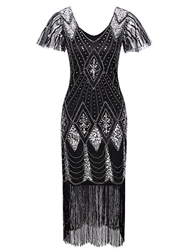 (Vijiv 1920s Gatsby Vintage Inspired Sequin Beads Long Fringe Flapper Dress With Sleeves Black Silver)