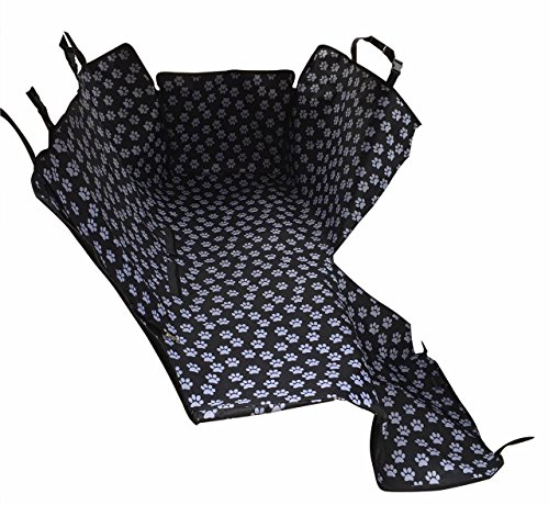 HelloTree Pet Dog Car Seat Cover   Double Oxford Pet Travel Hammock Waterproof Back Seat Protector Mat   Paw Prints