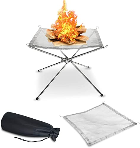 KEGOMAS Portable Outdoor Fire Pit Large 22″ | 2 Stainless Steel Mesh Screens Included | Folding Legs and Carry Bag Design | Backyard Wood Burning Camping Fireplace