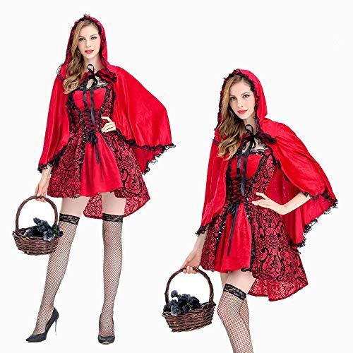 XSQR Halloween Petit Chaperon Rouge Cosplay Robe Cape Cape Petit Chaperon Rouge Red