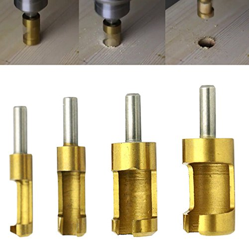 Daily Hardware 4 Pcs Carpentry Wood Plug Titanium Cutter Straight Tapered Claw Type Drill Bit ()