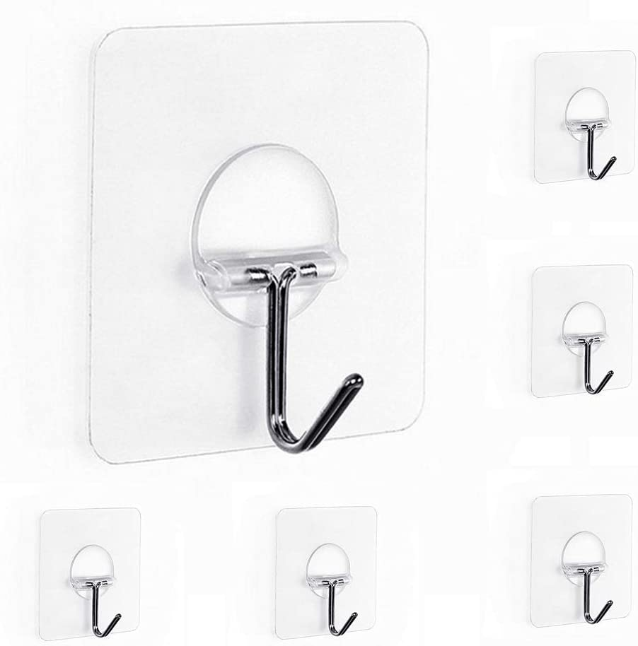 Gancho Adhesivo - Newlemo Ganchos Adhesivos para Pared Gancho de Plástico Transparente Ganchos Resistentes sin Clavo para Cocina Baño Puerta - 6 Piezas