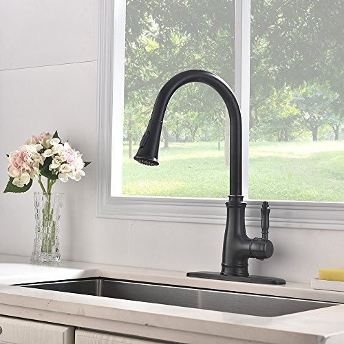 VESLA HOME Antique High-Arc Spout Swivels 360 Degrees Single-Handle Pull-Down Oil Rubbed Bronze Kitchen Faucet,Kitchen Sink Faucet with Deck Plate