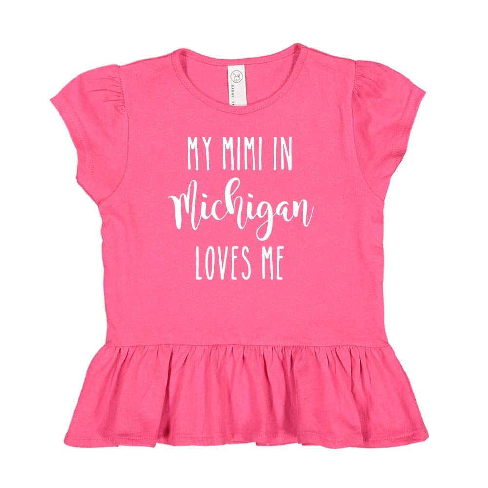 Toddler//Kids Ruffle T-Shirt My Mimi in Michigan Loves Me