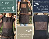 Black Work Apron in Canvas and Leather Heavy Duty