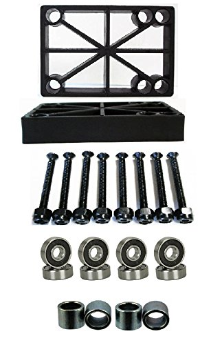 "Brand New 1/2"" Longboard Riser Pads Black+ ABEC 7 Bearings+1.5"" Hardware + Spacer"