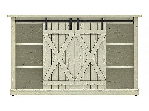 Comfort Smart Wrangler Sliding Barn Door TV Stand, Old Wood White