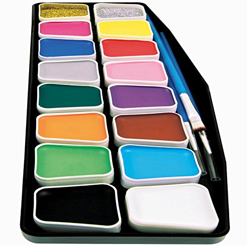 Artsy Fartsy Face Paint Kit for Kids | Professional 16 Color Mega Palette | Best Body Face Painting Kits | 3 Brushes, 3 Applicators, Glitter, 50 Stencils, Durable Case | FDA Compliant Non Toxic]()