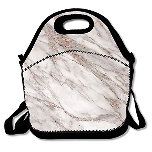 Rose Blush Type (Rose Gold Blush Grey Marble Neoprene,Reusable,Insulated,Foldable,Washable Kids Lunch Bag with Adjustable Straps Cute Lunch Boxes Carry Bag,Fresh and Fit Gourmet Lunch Tote Funny)