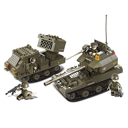 Sluban M38-B0288 Joint Military Drill Set Blocks Army Toy -Gun Carriage & T-90 Tank (Tank Army Real)