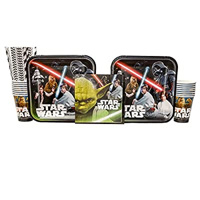 Classic Star Wars Birthday Party Supplies Pack for 16 Guests: Straws, Dinner Plates, Luncheon Napkins, and Cups