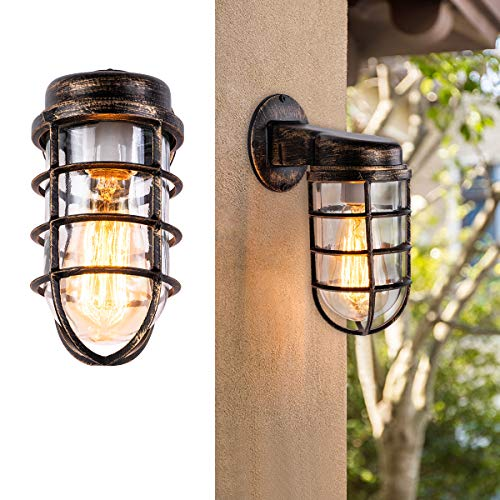 Industrial Wall Mount Light Fixture Wire Cage Wall Sconce with Black Mix Gold Painted Finish Apply to Bedroom Porch Hallway Garden Patio Bar Base for E26 Bulb Max 40W