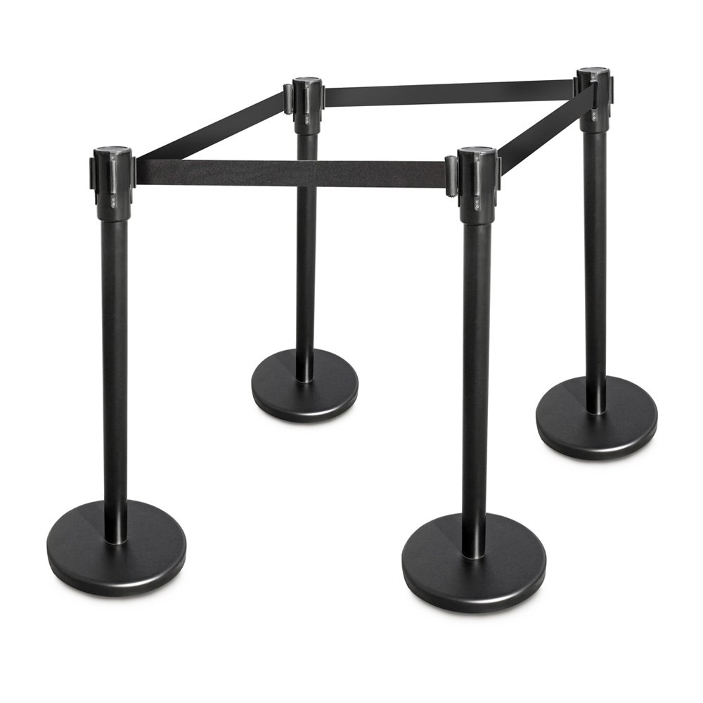 New Star Foodservice 54637 Stanchion, 36-Inch Height, 6.5-Foot Retractable Belt, Set of 4, Black