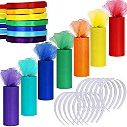 "Supla 7 Colors Rainbow Tulle Rolls Tulle Netting Fabric Spool in 6"" Wide 25 Yard/roll + 7 Colors Satin Roll Satin Ribbons in 2/5 Wide 25 Yard/roll+12 Pcs Plain No Teeth Plastic Headbands 1"" for craft"